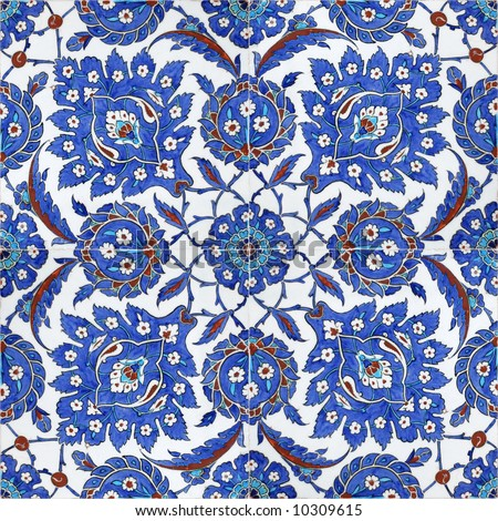 Floral patterns on Ottoman tiles, istanbul, turkey