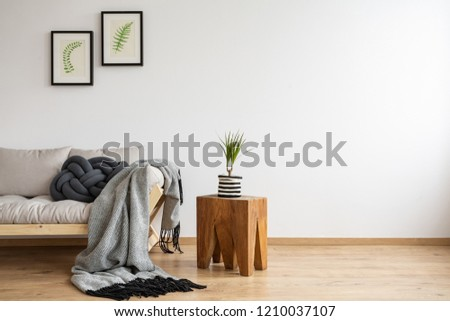 Floral pictures in back frames above scandinavian sofa with knot pillow and grey blanket, real photo with copy space on the empty wall