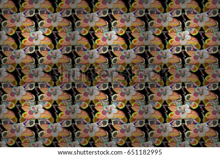 Floral Print. Repeating raster Flower Pattern. Modern Motley Floral seamless pattern in orange and green colors. #651182995