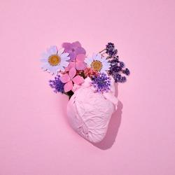 Floral romantic anatomical heart. Minimal concept. Top view