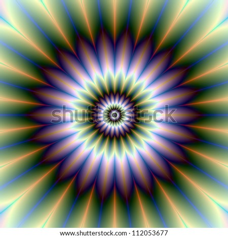 Floral Rosette/Digital abstract image with a floral rosette design in green, blue, purple, white and yellow. - stock photo
