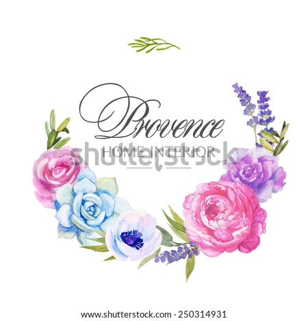 Floral round wreath with pink flowers (roses, anemones, stone rose, lavender, rosemary) for elegant postcard. Watercolor #250314931