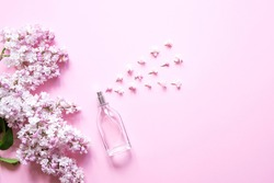 Floral scent concept. Perfume bottle with lilac  flowers over pink pastel  background Flat lay and copy space top  view.