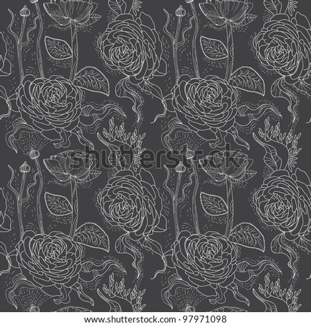 Floral seamless background, illustration