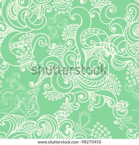 floral seamless background with swirls.