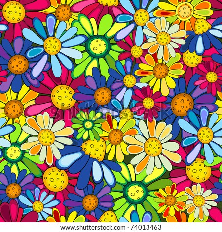 Floral seamless colorful vivid pattern with flowers