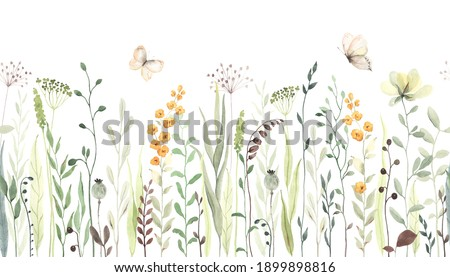 Floral seamless horizontal border with abstract yellow flowers, green leaves and plants, flying butterflies. Watercolor isolated pattern on white background, panoramic illustration summer meadow.