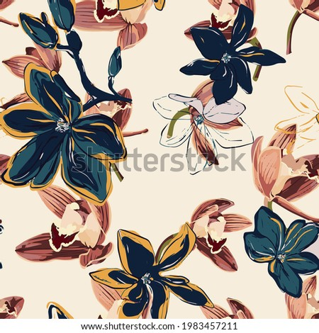 Floral Seamless pattern, beautiful flowers, artistic, modern abstract flora background, fashion textile print, elegant cute seamless print, tropical, leaves, flower, nature print for fabric, wallpaper