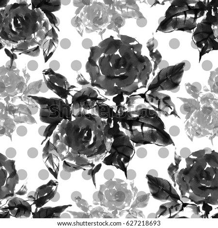 Stock Photo Floral seamless pattern. Beautiful weave flower rose, watercolor, ink, monochrome image.