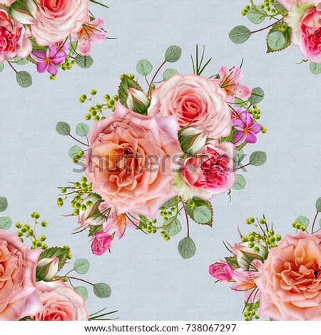 Floral seamless pattern. Flower arrangement, bouquet of delicate beautiful pink roses, green berries, leaves.