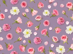 Floral seamless pattern made of beige flowers and rosebuds. Flat lay, top view. Valentines background. Lilac vintage background. Flowers pattern texture. Happy Mothers Day.