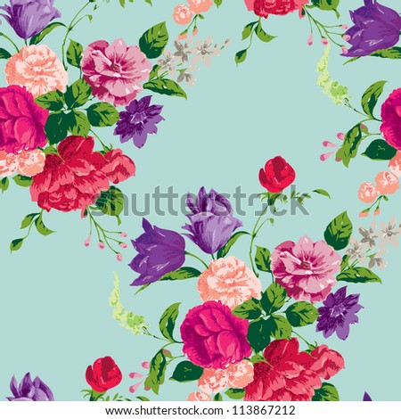 Floral Seamless Pattern.  Use for backgrounds and fill, or create your own virtual home wallpaper.