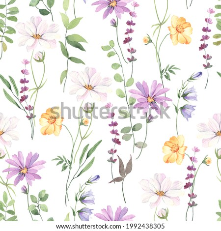 Floral seamless pattern with colorful flowers cosmos, coreopsis, bells, lavender and green leaves on branches. Delicate watercolor illustration on white background for textile or wallpapers. Photo stock ©