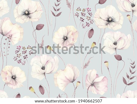 Floral seamless pattern with delicate poppies and abstract plants on grey-turquoise background. Watercolor illustration in vintage style, tender flowers poppy for wallpapers, textile or garden print. Photo stock ©
