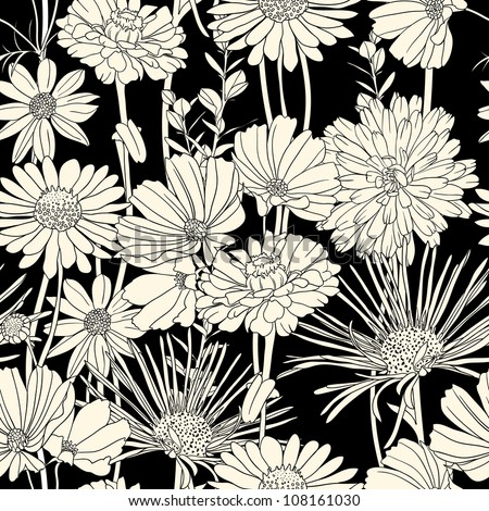 Floral seamless pattern with hand drawn flowers. Black and white