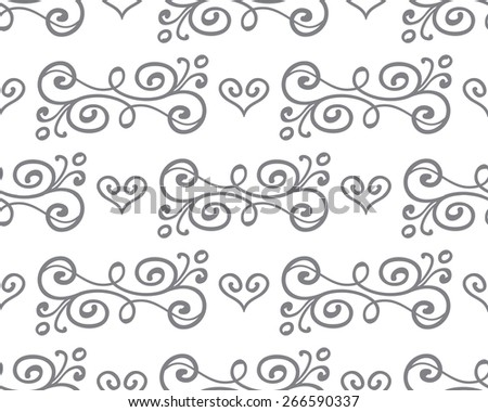 floral seamless pattern with hand drawn swirls and hearts on black chalkboard