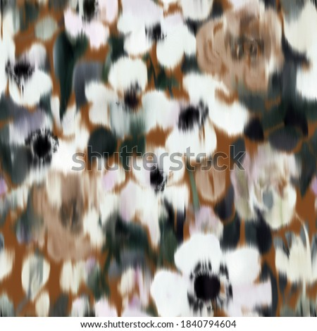 Floral seamless pattern with large blurred summer daisies. Watercolor hand drawn botanical background made of meadow flowers. Anemones buds blooming. Trendy defocused fashion design for fabric. ストックフォト ©