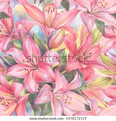 Floral seamless pattern with red and pink Lily flowers on colorful background. Hand painted watercolor illustration.