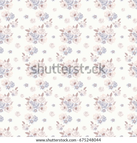 Floral seamless pattern with soft pink bouquets of flowers.   illustration  for textile, print, wallpapers, wrapping.