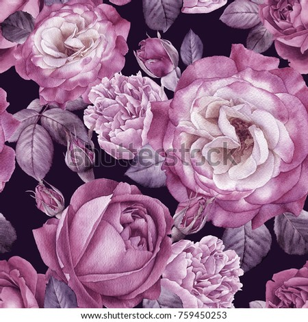Floral seamless pattern with watercolor roses and peonies