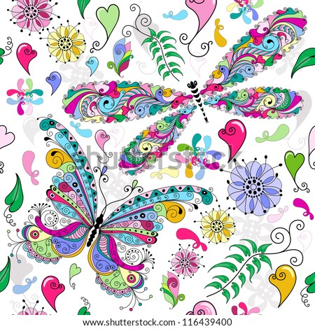 Floral seamless valentine pattern with colorful butterfly and dragonfly and hearts