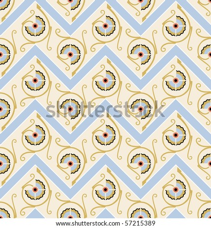 Floral seamless zigzag pattern