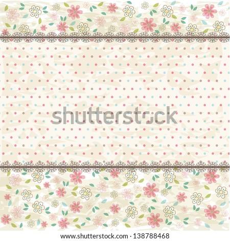 Floral shabby vintage background, raster version