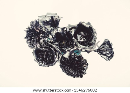 Floral shop. Metallic steel color. Flower covered metallic paint. Metal flower. Abstract art. Eternal beauty. Fashion bouquet. Botany concept. Forging and sculpture. Beautiful black silver flower. #1546296002