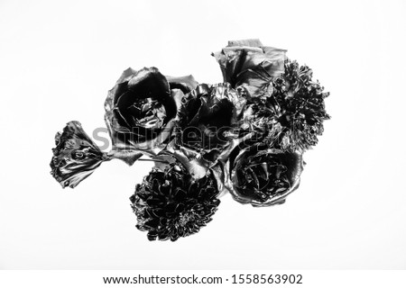 Floral shop. Metallic steel color. Flower covered metallic paint. Metal flower. Abstract art. Eternal beauty. Fashion bouquet. Botany concept. Forging and sculpture. Beautiful black silver flower. #1558563902
