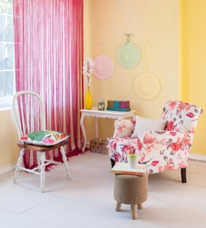floral sofa yellow wall pink curtain with window classic room decor