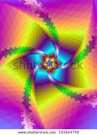 Floral Spiral/Digital abstract image with an floral spiral design in yellow, blue, green and purple