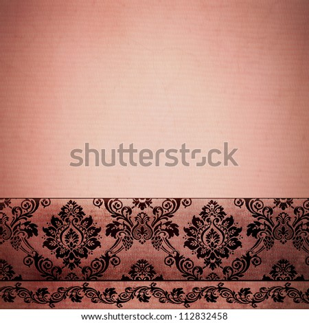 floral stationary template in vintage rose rust color, with texture and damask border