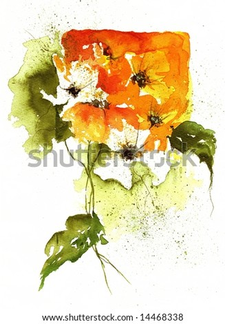 Floral  summer design with hand-painted abstract orange flowers and green leaves on white background. Art is painted and created by photographer.
