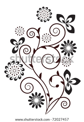 Floral swirl design element. Raster version.Vector version is in my gallery.