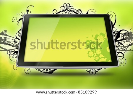 Floral Tablet. Cool Yellow-Kiwi Colors Tablet Computer with Vector Floral Elements - Floral Ornaments.. Technology and Art.