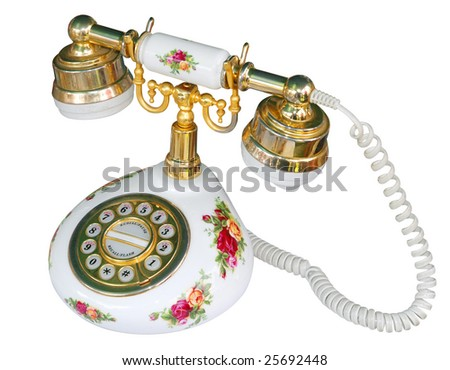 Floral Telephone isolated with clipping path
