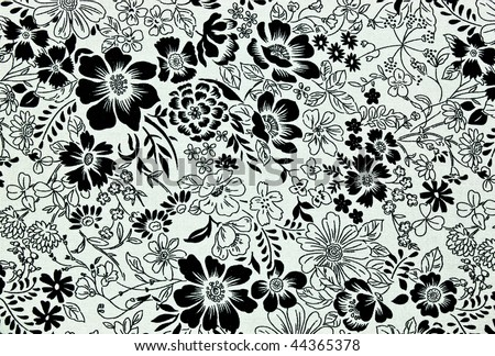 black and white floral pattern. stock photo : floral texture