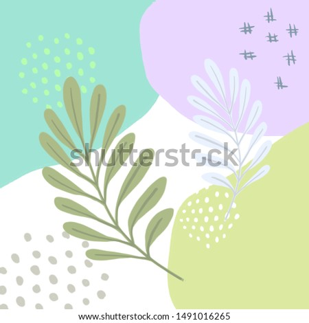 Floral tropical design in hand drawn style. Sketch style. Scandinavian style. Digital illustration in pastel colors on white background.