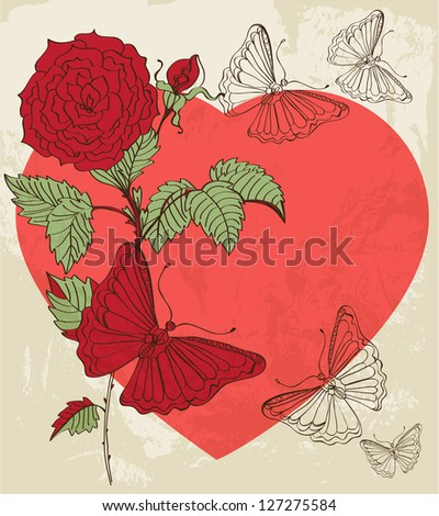 Floral Valentine background with heart for design