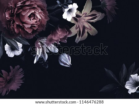 Floral vintage card with flowers. Peonies, tulips, lily, hydrangea on black background.  Template for design of wedding invitations, holiday greetings, business card, decoration packaging #1146476288