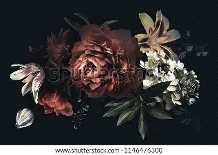 Floral vintage card with flowers. Peonies, tulips, lily, hydrangea on black background.  Template for design of wedding invitations, holiday greetings, business card, decoration packaging #1146476300