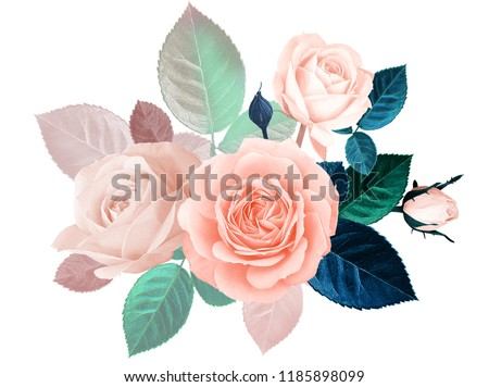 Floral vintage card with flowers. Roses on white background. Floral bouquet for design of wedding invitations, greetings, business card, decoration floral shops, packaging, shop windows, signboards. #1185898099
