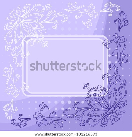 Floral violet and white background with flowers contours and frame