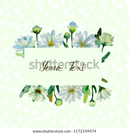 Floral watercolor background. Hand drawn chrysanthemum flowers, branches, leaves. Chrysanthemum Flower. Copy space for text, design card, wedding invitation, greeting, letter, poster, broadsheet, menu #1172149474