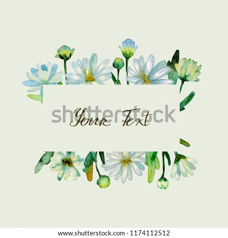 Floral watercolor background. Hand drawn chrysanthemum flowers, branches, leaves. Chrysanthemum Flower. Copy space for text, design card, wedding invitation, greeting, letter, poster, broadsheet, menu #1174112512