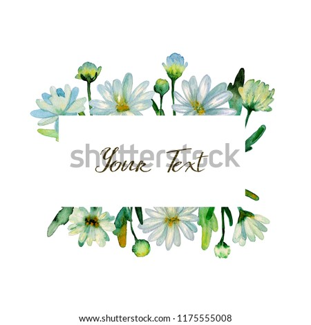 Floral watercolor background. Hand drawn chrysanthemum flowers, branches, leaves. Chrysanthemum Flower. Copy space for text, design card, wedding invitation, greeting, letter, poster, broadsheet, menu #1175555008