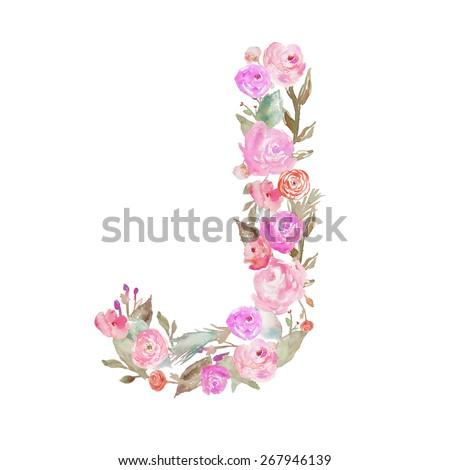 Floral Watercolor Flower Monogram Letter