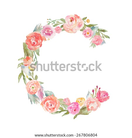 Floral Watercolor Flower Monogram Letter C Made of Flowers. Flower ABCS
