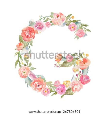 Floral Watercolor Flower Monogram Letter G. Floral ABC Letters