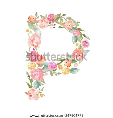 Floral Watercolor Flower Monogram Letter. Monogram Letter P. Flower Letter P